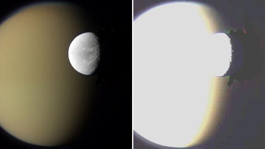 Nekvalitně upravený snímek měsíce Dione