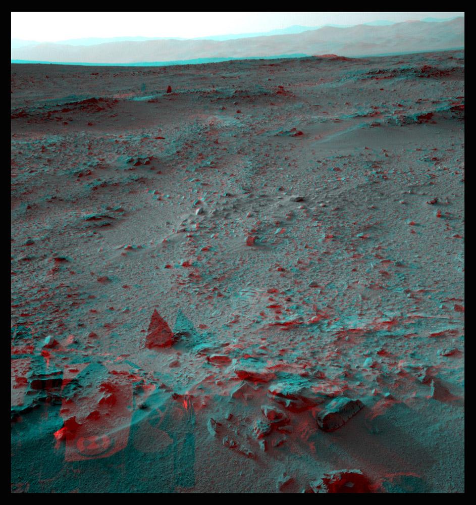 Snímek z doby, kdy se rover blížil k oblasti Glenelg