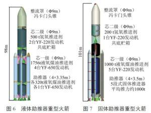 Dva návrhy konstrukce rakety Čchang čeng 9