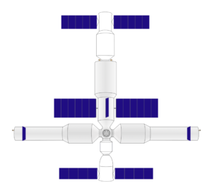 Velká čínská orbitální stanice. Uprostřed vidíte centrální modul se solárními panely, na něj se vpravo a vlevo připojuje dvojice laboratorních modulů. Dole je připojena kosmická loď Šen-čou a nahoře pak automatická zásobní loď.