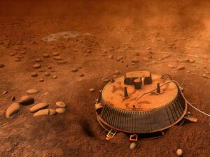Počítačová animace, jak asi vypadal modul Huygens po přistání na Titanu