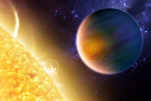 Exoplaneta u cizí hvězdy v představách malíře. Nejedná se o obrázek exoplanety Tau Ceti b.