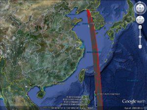 Trajektorie letu rakety Unha-3 s vyznačenými místy dopadů vyhořelých stupňů