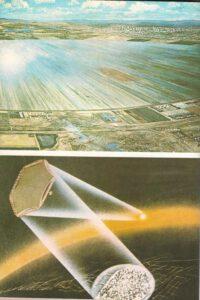 Hore: Rekténa vybudovaná na zemskom povrchu zachytáva elektrickú energiu z vesmírnych elektrární. Dole: Luneta osvetľuje veľké mesto. Takto sa nebude musieť míňať energia na prisvecovanie elektrickými lampami.