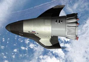 Ruský miniraketoplán Kliper na orbite. Projekt bol bohužiaľ v roku 2006 zrušený.