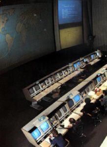 Sovětské řídící středisko ЦУП (Центр Управления Полётом) u Moskvy