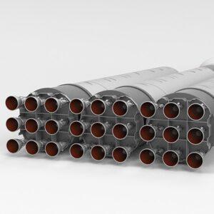 První stupeň rakety, tvořený trojicí prvních stupňů rakety Falcon 9, celkem 27 motorů Merlin 1D. Oproti obrázku se dá očekávat, že budou sestaveny do tvaru osmiúhelníku s jedním motorem uprostřed.