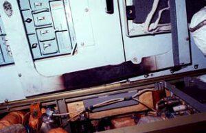Ohořelý panel u kyslíkového generátoru
