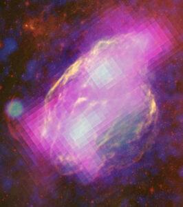 Snímek zbytku po výbuchu supernovy W44, jedná se o kompozitní snímek. Na jeho vzniku se podílely Fermi gama paprsky(purpurová), Karl G. Jansky Very Large Array (VLA) rádiové záření, Spitzer (červeně) infračervené záření a konečně Rosat (modrá) rentgenové záření.