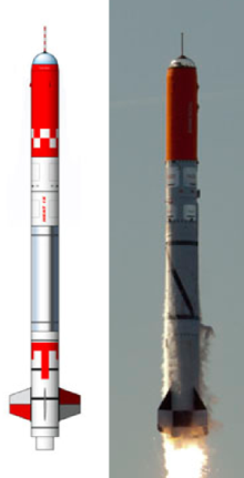 """Raketa HEAT. Vľavo pôvodný nákres a vpravo reálna fotka po štarte v lete 2011.  Raketa HEAT mala vynášať do výšky sto kilometrov kapsulu Tycho Brahe, v ktorej by """"na stojáka"""" cestoval človek. Koncept takejto primitívnej vesmírnej lode bol nakoniec zavrhnutý."""