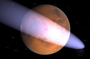 Počítačová simulace komety Siding Spring u Marsu