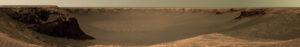 Panoramatická fotografia kráteru Victoria. Vľavo môžete vidieť útesy Cape Verde.