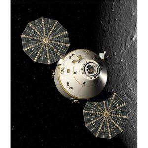 Původní plánovaná podoba lodi Orion s vějířovitými solárními panely. Evropský modul bude oproti tomu mít panely ve tvaru písmene X.