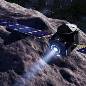 Umělecká představa sondy Dawn se zažehnutým iontovým motorem
