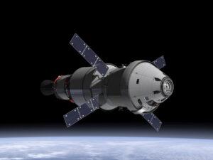 Takto bude vypadat loď Orion se servisním modulem na oběžné dráze