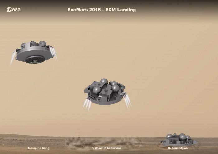 Počítačová simulace ukazující přistání EDM na Marsu