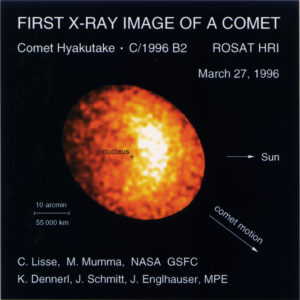 Rentgenová emise komety Hyakutake jak ji zaznamenala observatoř Rosat.