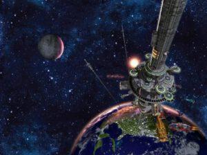 Vesmírny výťah. Raz možno bude vynášať ľudí a náklad do vesmíru. Cesta na obežnú dráhu bude trvať približne týždeň.