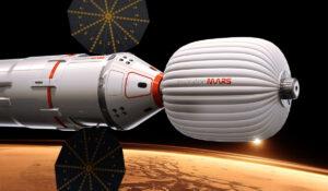Desetitunové soulodí u Marsu v představách grafika.