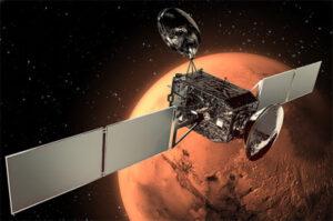 Trace Gas Orboter u Marsu v představách ilustrátora