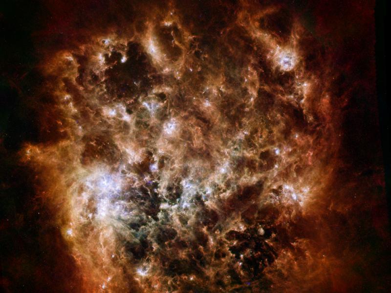 Velký Magellanův oblak, nepravidelná galaxie vzdálená 163 000 světelných let od Země, vyfocený dalekohledem Herschel.