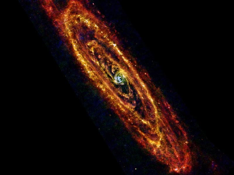 M31 - Galaxie v Andromedě, tak, jak ji viděl teleskop Herschel.