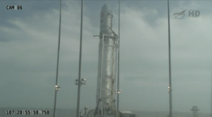 Raketa Antares na odpalovací rampě kosmodromu MARS<br>Zdroj: http://www.nasa.gov/