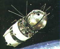 Loď Vostok s posledným stupňom rovnomennej rakety.