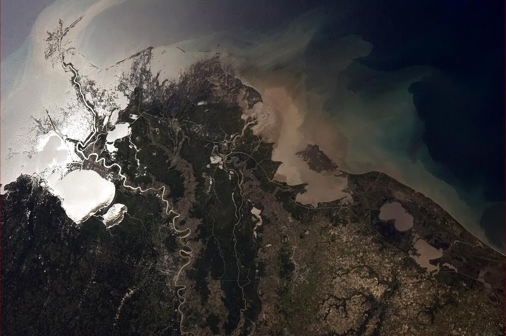 Delta řeky Mississippi tvořená úrodnou půdou, která proudí do Mexického zálivu.