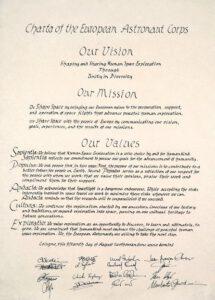 Charta Evropského sboru astronautů, která byla podepsána astronauty 15. srpna 2001.