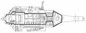 Loď TKS. Hrubou čiarou je vyznačený obytný priestor. Na špici je dobre vidieť loď Merkur.