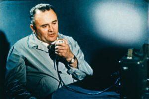 Sergej Koroljov v bunkru řízení startu