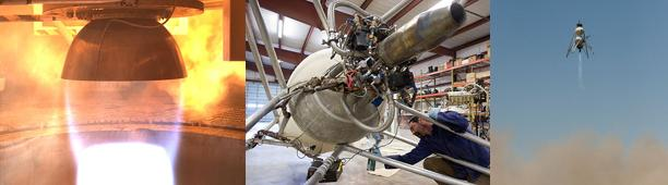 Test motoru, příprava testovacího landeru a zkušební vzlet zdroj: nasa.gov