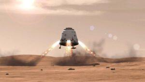 Vizualizace možného přistání na Marsu v režii SpaceX