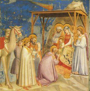 Giottovo dílo Klanění tří králů. Povšimněte si komety na obloze.