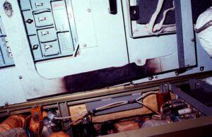 Poškodenie spôsobené požiarom v module Kvant 1.