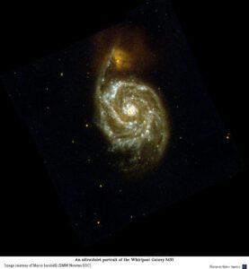 Rentgenový snímek známé Vírové galaxie M51 kolidující s menší NGC 5195.