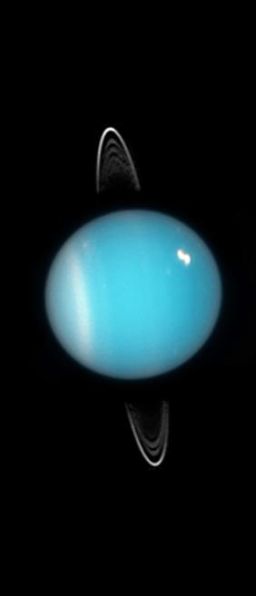 Planéta Urán odfotená v roku 2005.