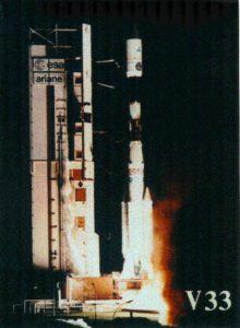 Start rakety Ariane 4 s družicí Hipparchos ukrytou pod aerodynamickým krytem.