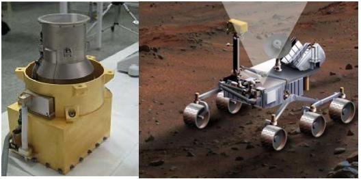 Přístroj RAD - vpravo pak jeho umístění na vozítku Curiosity.