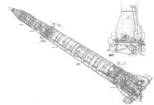 Technický nákres rakety Redstone