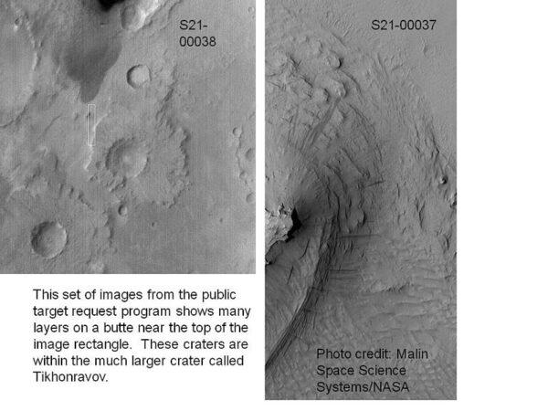 Odhalené vrstvy kôry Marsu.