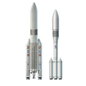 Porovnanie rakiet Ariane 5 a Ariane 6.