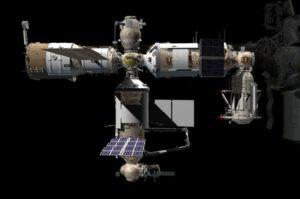 Počítačem generovaný obrázek ukazuje, jak se modul Nauka napojí na ISS. Vlevo Zvezda - vpravo Zarja - nahoře Poisk - dole Nauka
