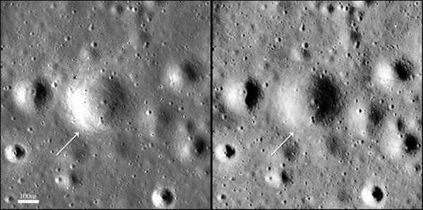 Tyto snímky od sebe dělí 45 let. Vlevo od LRO, vpravo od Lunar Orbiter-3 zdroj:nasa.gov