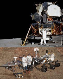 Porovnání lunárního modulu a marsovksých roverů. Opportunity úplně vlevo zdroj:nasa.gov