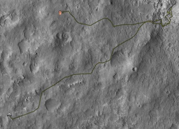 Trasa, kterouv vozítko ujelo během prvního roku na Marsu (na klik více podrobností)