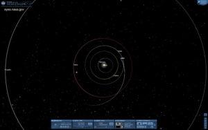 Aktuálna pozícia sondy v Slnečnej sústave.