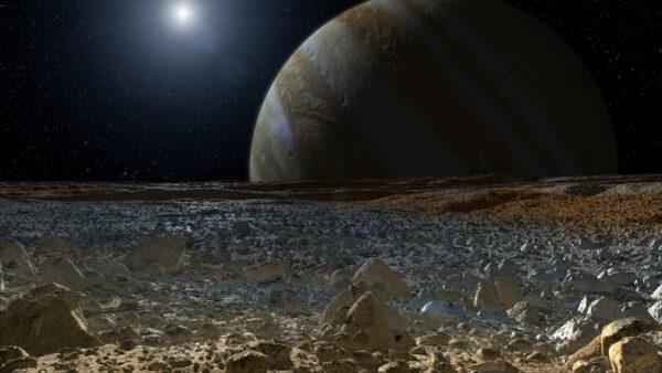 Pohled na Jupiter z Europy zdroj:nasa.gov