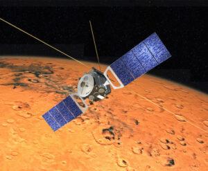 Mars Express nad povrchem Rudé planety v představách malíře.